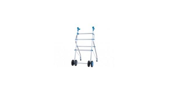 Caminador de aluminio plegable de cuatro ruedas